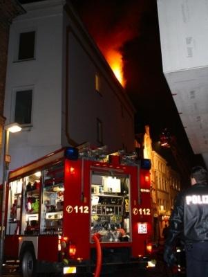 Feuer in Lübecker Altstadt. Foto: Benjamin Langer