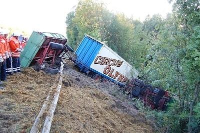 Zirkuswagen mit acht Pferden verunglückt. Foto: Apeldorn/ Feuerwehr