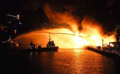 Großbrand in Kiel. Foto: Behling