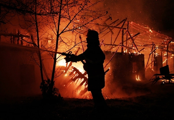 Feuer vernichtet Scheune in Oberbayern. Foto: f.f.