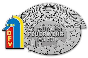 Tagungsabzeichen zum Deutschen Feuerwehrtag 2010 in Leipzig. Foto: DFV
