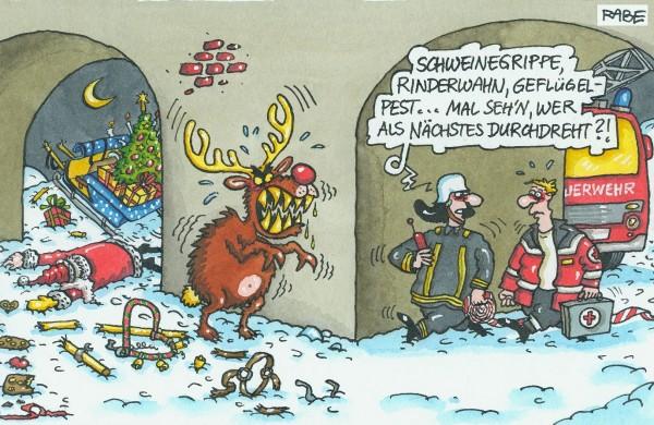 Weihnachtsgruß 2009. Zeichnung: Rabe