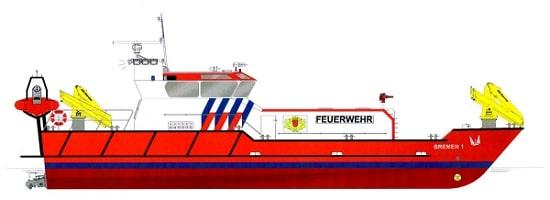Kombiniertes Feuerlösch- und Polizeiboot Bremen. Grafik: Feuerwehr/ Hersteller
