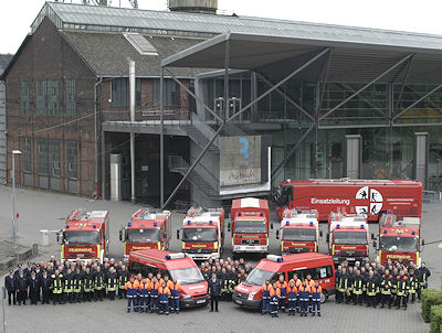 Aufstellung der Mannschaft der freiwilligen Feuerwehr Bochum