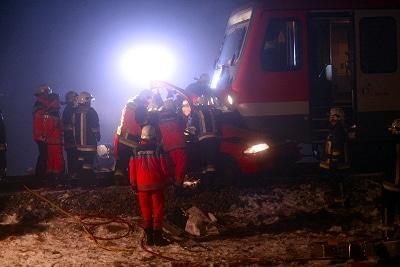 Pkw unter Zug eingeklemmt. Foto: Bestenreiner