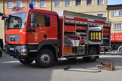 Der neue Rüstwagen in Hann. Münden auf MAN-Fahrgestell und mit Gimaex-Schmitz-Aufbau verfügt auch über ein Plasmaschneidgerät. Foto: Thomas Kleinhans/Feuerwehr