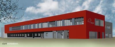 Simulation der neuen Flughafen-Feuerwehrwache 4 in Frankfurt. Grafik: Fraport