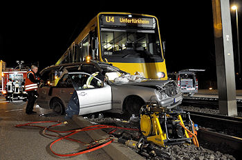Tödlicher Straßenbahnunfall in Stuttgart. Foto: Oskar Eyb