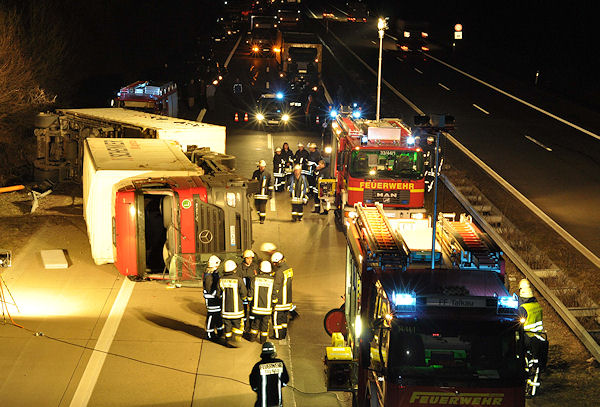 Lkw-Unfall auf der A 24. Foto: Christian Nimtz