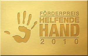 """Logo Förderpreis: """"Helfende Hand 2010"""". Grafik: BBK"""