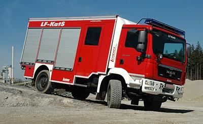 Lentner hat das LF auf einem MAN TGM 13.250 mit Allradantrieb aufgebaut. Foto: A. Müller