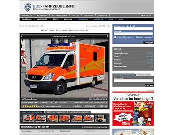 Screenshot von bos-fahrzeuge.info: Dieser Rettungswagen ist das 100.000-te Foto in der Datenbank.