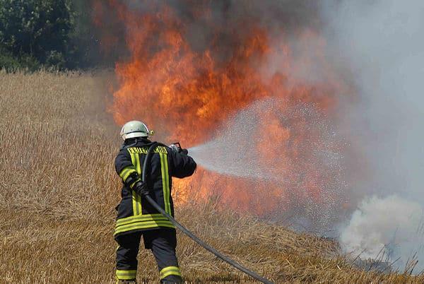 Archivfoto: Bei Sommerhitze in voller Montur zum Einsatz - das schlaucht. (Bild zeigt einen Flächenbrand bei Klempau (SH) am 31.08.2008). Foto: Christian Nimtz