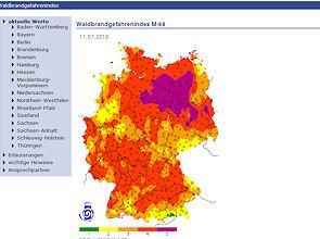 Screenshot von www.dwd.de: Zum Wochende zeigt die Waldbrandkarte die höchsten Warnstufen.
