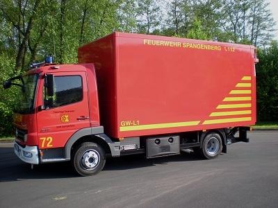 Der neue GW-L1 der FF Spangenberg stammt von der Firma Guggenmos, Fahrgestell ist ein Mercedes Atego 816. Foto: Michael Krawinkel/Feuerwehr