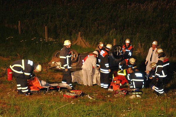 Verkehrsunfall in Hamburg: Feuerwehr und Rettungsdienst bemühen sich um das Leben des Beifahrers - letztlich vergeblich. Foto: Arne Mundt