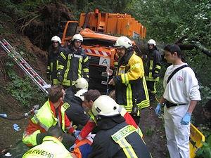 Umgestürzter Baum bei Heiligenhaus: Der schwer verletzte Fahrer wird von Rettungsdienst und Feuerwehr versorgt. Foto: Polizei