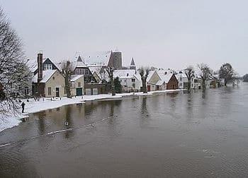 Januar 2003: Hochwasser der Aller überflutet das historische Fischerviertel in Verden. Foto: Michael Klöpper