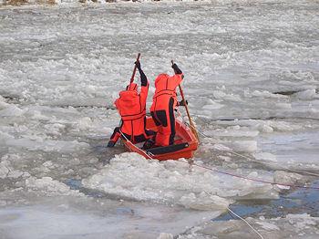 Mit einem Boot versucht die Feuerwehr auf dem Elbe-Seitenkanal bei Uelzen zwei Wildschweine zu retten. Foto: Polizei
