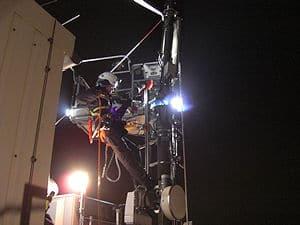 Einsatz am Mobilfunkmast. Foto: Polizei