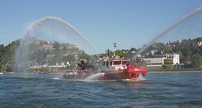 "Das Feuerlöschboot ""RPL 1"" der BF Koblenz. Foto: Hegemann"
