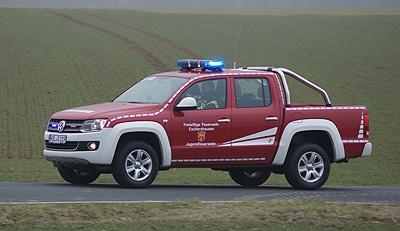 Die Feuerwehr Eschershausen (Kreis Holzminden) besitzt das erste Feuerwehrfahrzeug auf VW Amarok. Foto: Hegemann