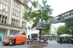Die Feuerwehr musste in Hannover mit einem Imker ein Bienvolk aus einer Fußgängerzone umsiedeln. Die Tiere hatten in einem Baum ein Nest gebaut. Foto: Feuerwehr Hannover