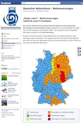 Facebook-Warnseite des DWD. Screenshot: Facebook/DWD