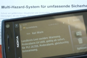Testmeldung des Katwarn-System bei einem Probealarm in Ostfriesland. Foto: Thomas Weege