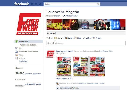 Das Feuerwehr-Magazin hat bei Facebook jetzt mehr als 20.000 Fans.