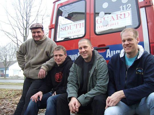 """Die Feuerwehrband """"Southgard"""" aus Augsburg: Werner Sporer, Matthias Münch, Höri H. und Alexander Kurz (v.l.). Foto: IN-Press"""