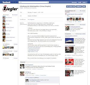 "Termingruppe bei Facebook: ""Erhaltung der Arbeitsplätze bei Ziegler""."