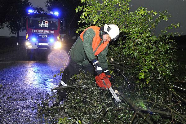 Unwetter: In Dorsten (Kreis Recklinghausen, NW) beseitigt die Feuerwehr einen Baum von einer Straße, der bei starken Sturmböen während eines Gewitters umgestürzt war. Foto: Bludau