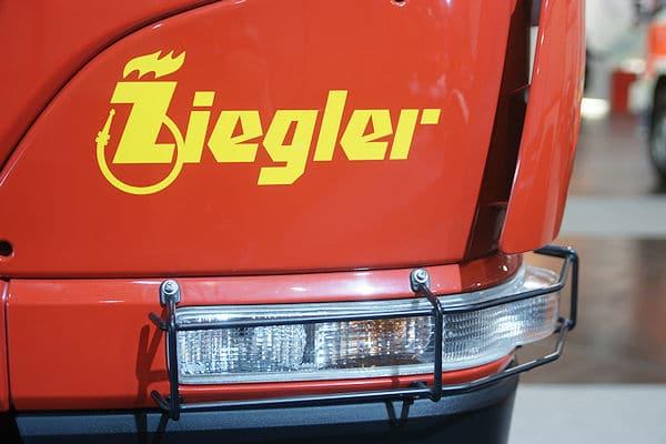 Ziegler-Logo auf einem Feuerwehrfahrzeug. Foto: Preuschoff