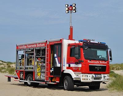 Durch Erbschaft ermöglicht: das LF 20/16 mit Logistikkomponente für die FF Borkum. Fotos: Olaf Preuschoff