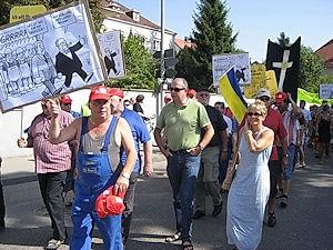 Demo von Ziegler-Mitarbeitern in Giengen. Foto: IGM