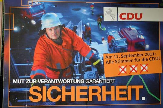 Wahlkampfplakat der CDU: Nicht jeder findet die Motivwahl glücklich. Foto: Thomas Weege