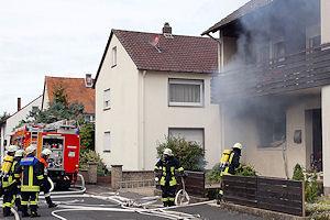 """Wohhausbrand """"Am Triebweg"""" in Elsenfeld. Foto: Ralf Hettler"""