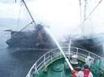 Löscheinsatz der DGzRS auf hoher See. Foto: DGzRS