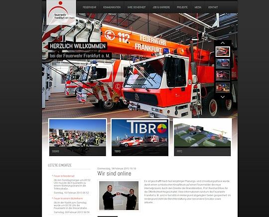 Screenshot der relaunchten Website der Feuerwehr Frankfurt.