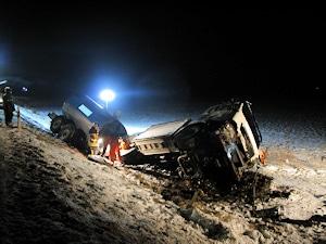 Verunfallter Milch-Tankwagen. Foto: Neubert/Feuerwehr