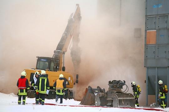 Feuer in Silo - Brand in Bautzen. Foto: Löb