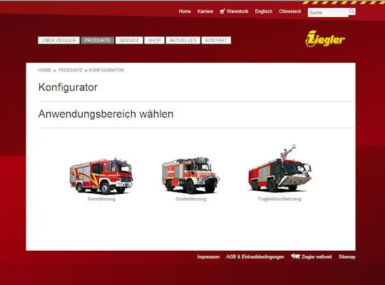 Fahrzeugkonfigurator der Firma Ziegler.