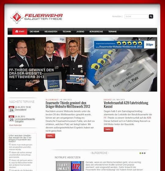Screenshot der Sieger-Website: Die FF Thiede holte sich 2013 beim Website-Wettbewerb den ersten Platz.