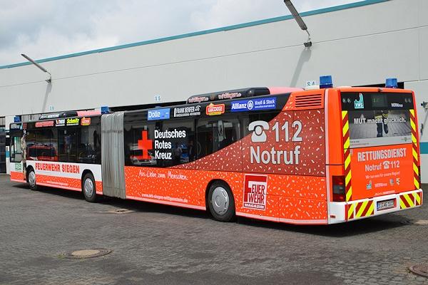 Der neue Rettungsbus der Verkehrsbetriebe Westfalen-Süd. Das Fahrzeug fährt im regulären Linienverkehr und kann jederzeit zum Einsatz abberufen werden. Foto: Jörg Büdenbender