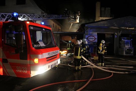 Garagenbrand in Reutlingen. Foto: Feuerwehr