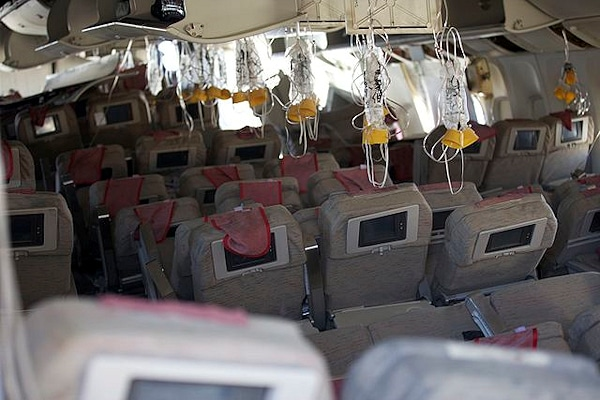 Das Innere der Boeing 777, die bei San Francisco abgestürzt ist. Foto: NTSB