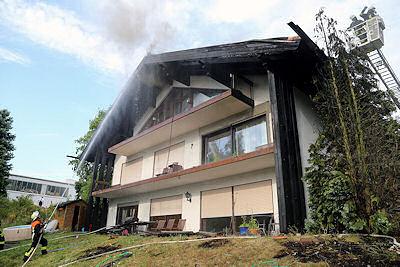 Dachstuhlbrand in Elsenfeld. Foto: Ralf Hettler