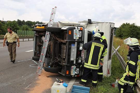Unfall mit Wohnmobil auf der A 629. Foto Jügen Jung
