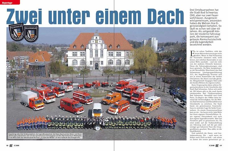 Feuerwehr Bad Schwartau: Ausführliche Reportage im Feuerwehr-Magazin 9/2008.